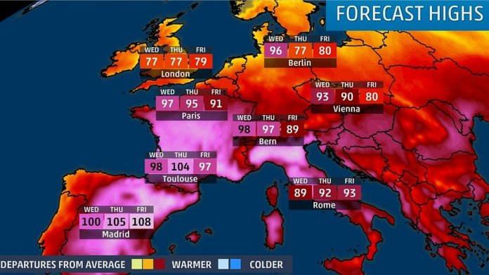A plume of Saharan air is bringing scorching June temperatures across Europe, which are set to climb even further on Wednesday before peaking in some parts on Thursday and Friday