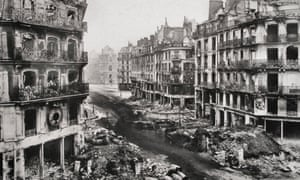 The rue de Rivoli after the fights and the fires of the Paris Commune, 1871.