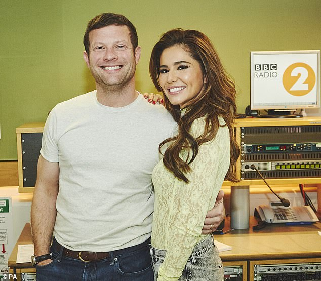 Glamour: The star looked radiant as she posed with old X Factor pal Dermot O'Leary on Saturday for a candid new interview