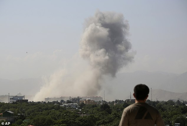 Smoke rises after the huge explosion in Kabul this morning for which the Taliban have claimed responsibility