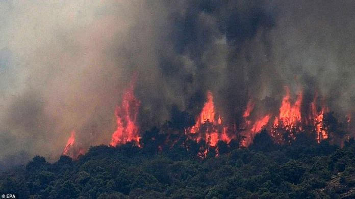 The fires were raging for hours as firefighters tackled the huge blaze with helicopters as the temperatures soared in Spain