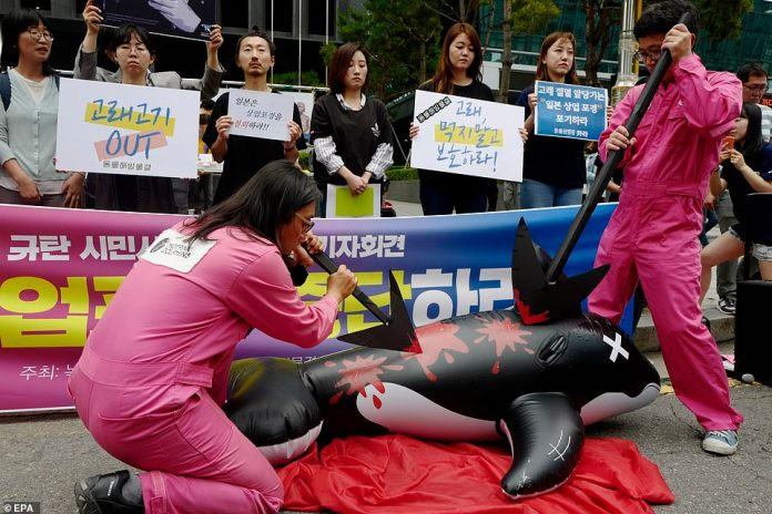 Members of an environmental activist group take part in a rally against Japan's whaling activities near the Japanese embassy in Seoul, South Korea, last month
