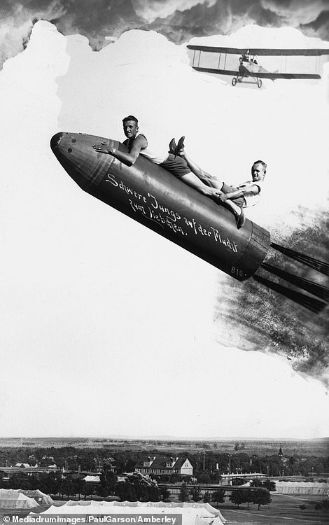 This bizarre piece of Nazi artwork shows two young men lying on top of a V2 rocket - a ballistic missile used to attack the Allies, causing thousands of deaths. The caption on the rocket reads: 'Strong lads on a getaway to meet their sweethearts'.