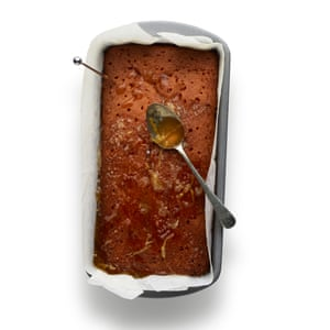 Bake until risen and golden, then poke holes all over the top and pour over the juice, zest and sugar mixture.
