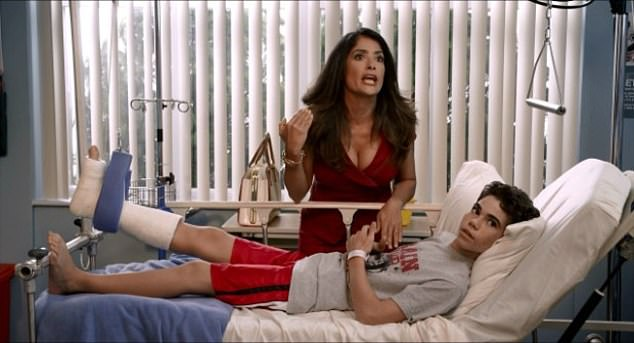 Boyce, who had his first break-out role aged just nine in the horror movie mirrors, found further fame starring as Adam Sandler and Salma Hayek's son in Grown Ups, and Grown Ups Two (pictured with Hayek in a still from the film)