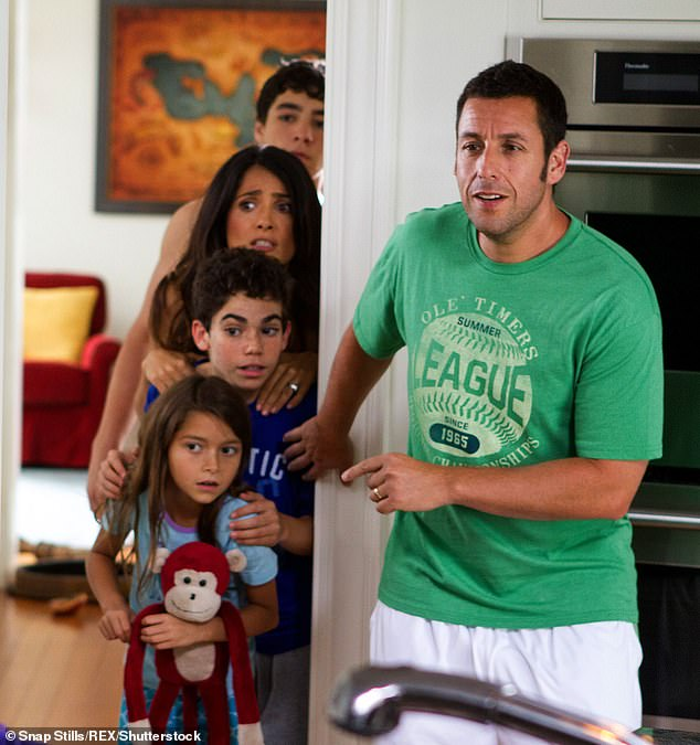 Boyce played Keithie Feder (second from front) in the 2010 hit movie Grown Ups. It stared Adam Sandler (pictured), Kevin James, Chris Rock, David Spade, and Rob Schneider as five lifelong friends who reunite for a July Fourth weekend with their families in a lakehouse