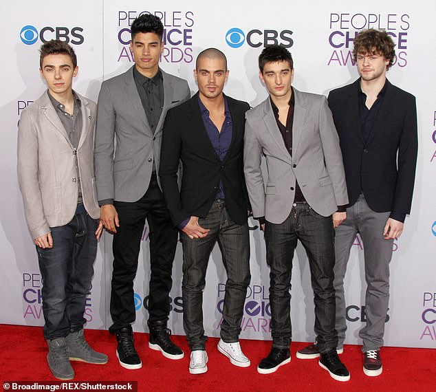 The Wanted: Two of Tom's bandmates - Max George (centre) and Strictly Come Dancing winner Jay McGuiness (right) were ushers at his wedding, but Nathan Sykes (left) andSiva Kaneswaran (second from left) gave the ceremony a miss (pictured 2013)