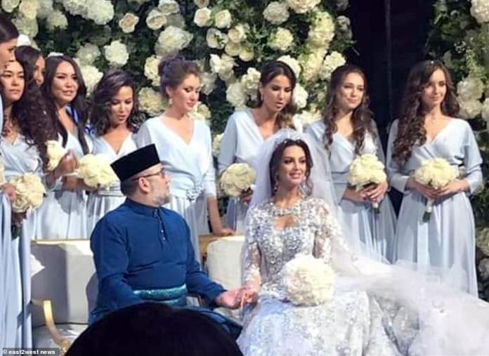 Royal wedding: Oksana Voevodina, 27, married Malaysia's Muhammad V of Kelantan, 50, in a lavish royal wedding ceremony in the Russian capital in November last year