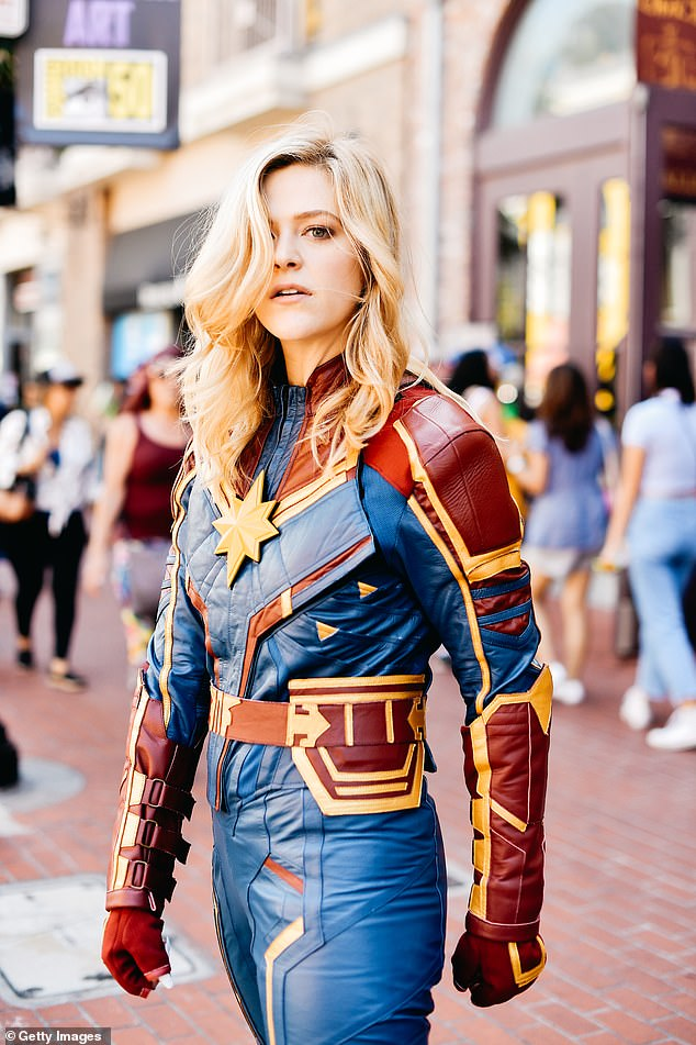 Cosplayer dressses as Captain Marvel from the 2019 American superhero film based on the Marvel Comics character Carol Danvers
