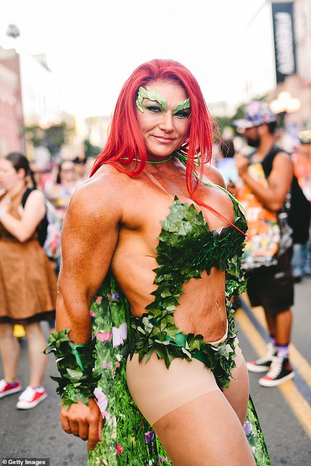 A cosplayer dressed as Poison Ivy from DC Comics attends the 2019 Comic-Con International on July 18