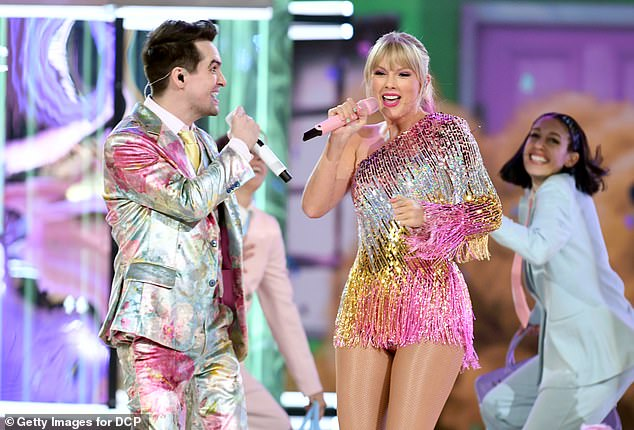 Got her back:Brendon Urie, 32, who performed alongside Taylor Swift on the hit single ME!, ripped Scooter Braun as a 'f***ing a**hole' and 'piece of s***' on Monday in the wake of Swift's public statement opposed to the sale of her material to the music exec