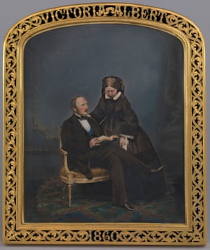 A framed photograph of Queen Victoria and Prince Albert, 1860, by John Jabez Edwin Mayall.
