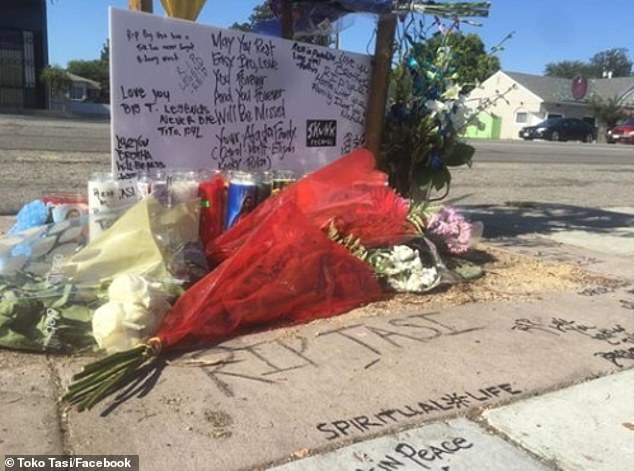 Remembering him: A memorial was set up in Long Beach for Tasi, a stalwart in the community