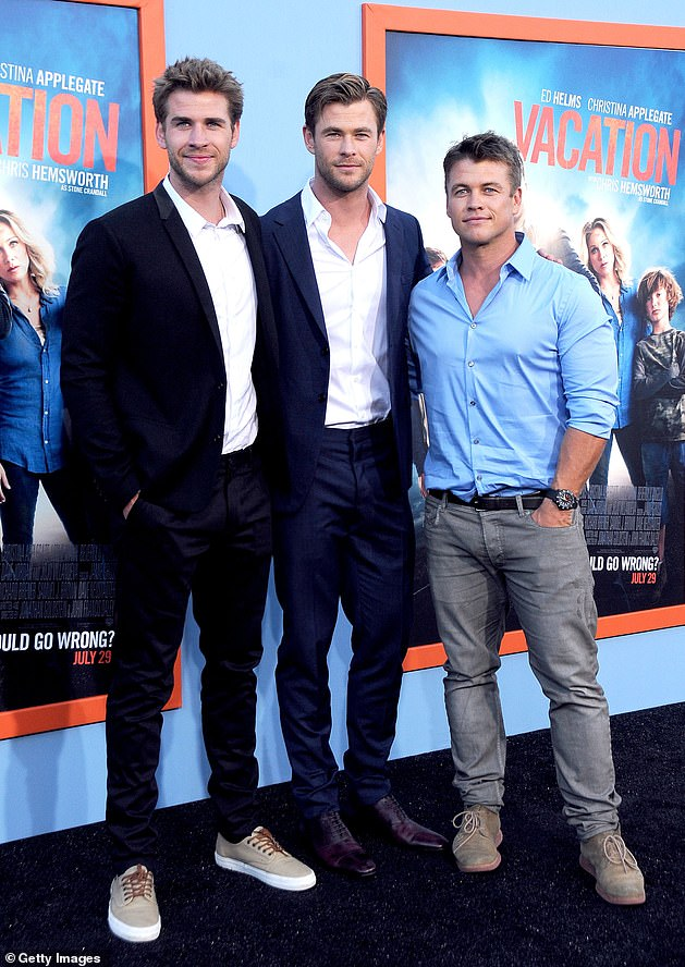Concerned: Liam is the youngest member of the Hemsworth acting dynasty. Pictured with his brothers Chris (center) and Luke (right)on July 27, 2015 in Westwood, California