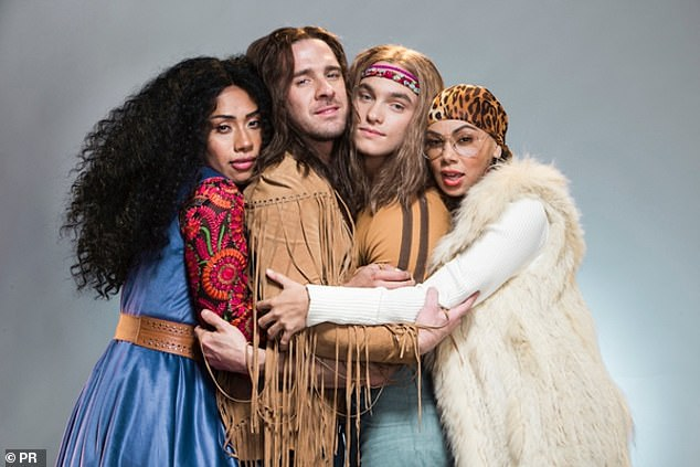Stage show: Hugh stars in Hair, The musical, alongside Australian Idol's Paulini Curuenavuli (far left) and The Voice's Prinnie Stevens (far right) and will tour Australia until October 12