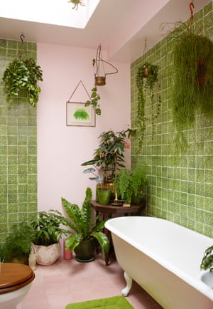 Shoots and leaves: the green-tiled bathroom.