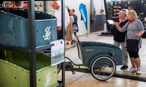 Cargo bike trailers on show at a trade fair in Berlin. The bikes can cost up to €7,000 (£6,400).