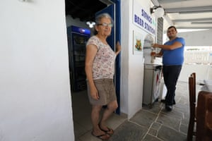 George and his mum, owners of Taverna Symposio at Vathy on Sifnos, Greece