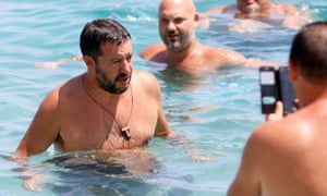 Minister Salvini meets supporters at the beach in Taormina, Sicily
