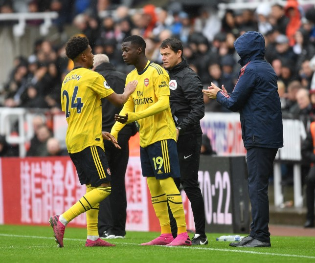 Reiss Nelson was replaced by Nicolas Pepe in Arsenal's win over Newcastle