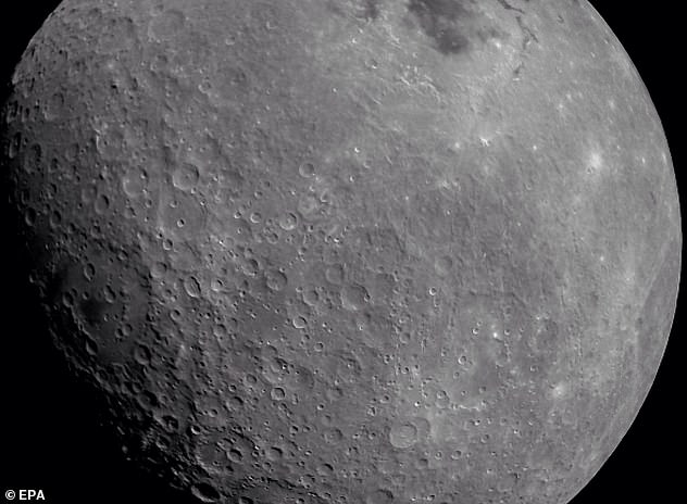 A stunning image of the moon (pictured) was taken by India's ground-breaking Chandrayaan-2 spacecraft from lunar orbit last week. It includesincludes a look at the Apollo crater and the Mare Orientalis