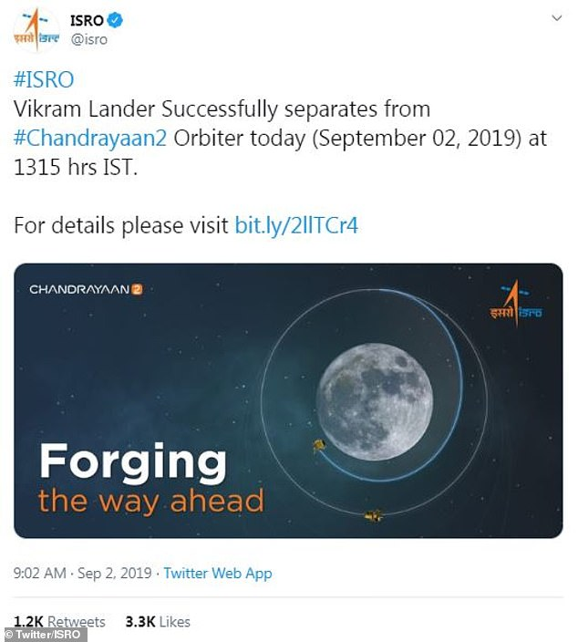 ISRO revealed the success of the manoeuvre on Twitter (pictured) and published a statement on the agency's website