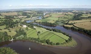 Aerial view of Sharpham Estate, Devon.