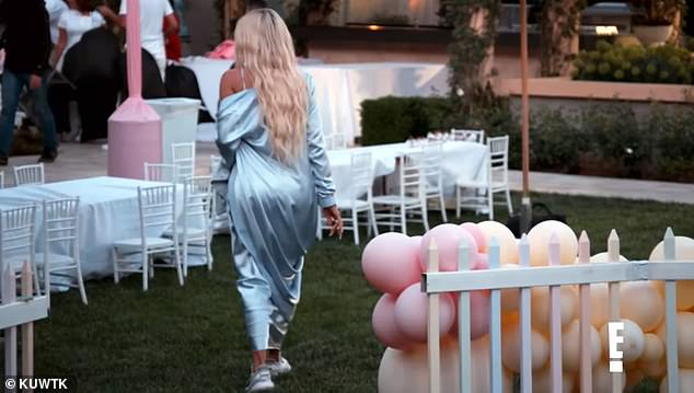 Drama: The 35-year-old star is heard saying: 'My life is filled with drama' as she is seen looking annoyed at her daughter True's first birthday party after her ex boyfriend Tristan Thompson's arrival
