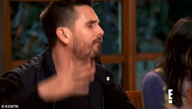 Uh oh:Scott is angrily yelling at Kris Jenner's boyfriend Cory Gamble in the next snip, while Kris and Kim look on