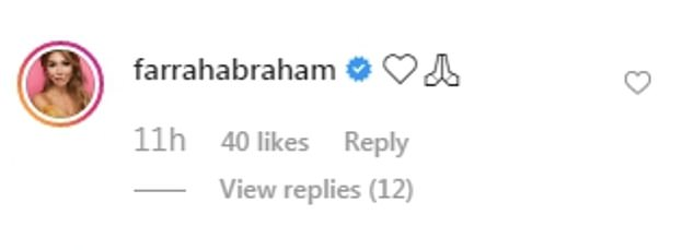 Responses: A number of people called out Farrah for the video, and she responded with a pair of emojis