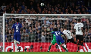 Chelsea's Willian shoots over the bar.
