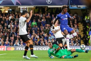 Chelsea's Tammy Abraham is thwarted by Valencia keeper Jasper Cillessen.