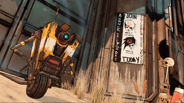 A robot called Clatrap from Borderlands 3 posing
