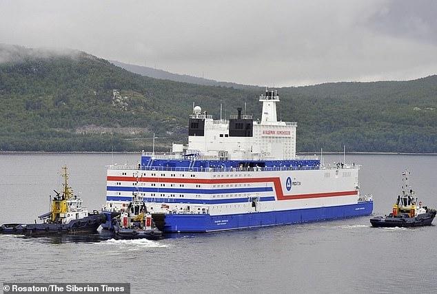 The Akademik Lomonosov, a 472ft vessel carrying two 35-megawatt nuclear reactors, is shown here departing from Murmansk, Russia 17 days ago. It landed today in Pevek in Russia's far eastern region of Chukotka