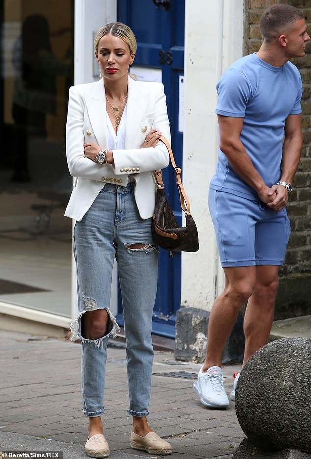 'TV gold':Olivia Attwood was back to it on Tuesday as she filmed scenes for TOWIE with Clelia Theodorou in Essex