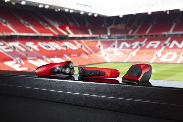 Hair and beard trimmers with Manchester United logo