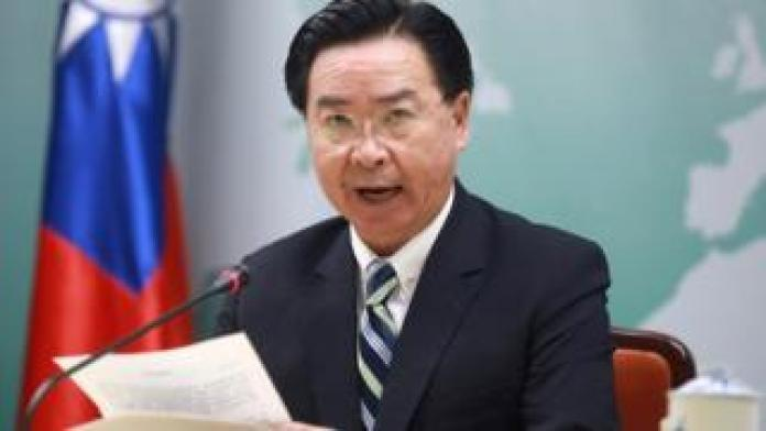 Taiwan Foreign Minister Joseph Wu speaks at a news conference announcing Taiwan's decision to terminate diplomatic ties with the Pacific island nation of Kiribati, in Taipei, Taiwan 20 September 2019