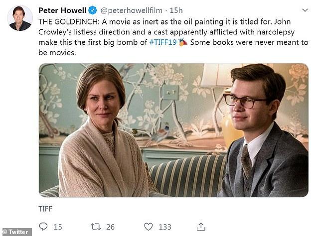 Not for him: Peter Howell of film score website Rotten Tomatoes called The Goldfinch, starring Nicole Kidman and Ansel Elgort, 'the first big bomb of #TIFF19'