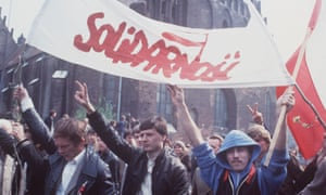 A rally on May Day, 1983 in Gdansk, Poland, by supporters of the Solidarity union.