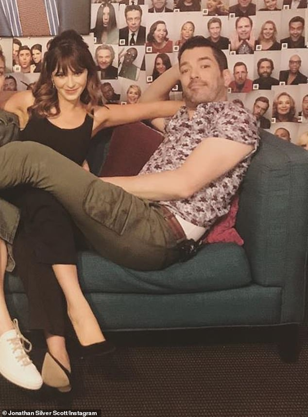 Without naming names: Property Brothers star Jonathan Silver Scott (R) finally confirmed his new romance with three-time Golden Globe nominee Zooey Deschanel (L, pictured August 4)