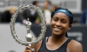 Coco Gauff poses with the trophy after winning her first WTA singles title in Linz this month.