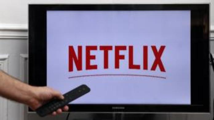 A Samsung smart TV displaying the Netflix logo