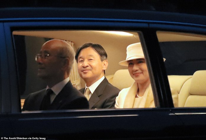 Emperor Naruhito and Empress Masako are seen on arrival at the Uji Yamada Station on their way to the Ise Shrine on November 21, 2019 in Ise, Mie, Japan