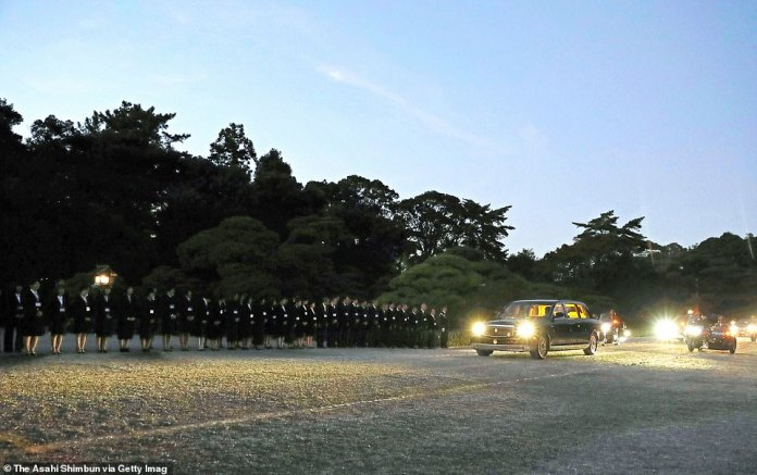 Emperor Naruhito and Empress Masako are seen on arrival to the Ise Shrine on November 21, 2019 in Ise, Mie, Japan