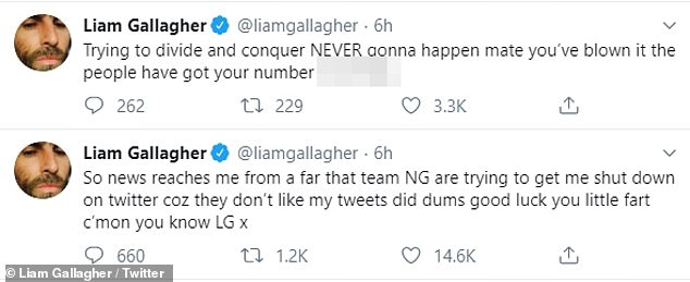 """Hitting out: The singer claims """"team NG"""" has begun a controversial process to try and get him silenced on the social media platform"""