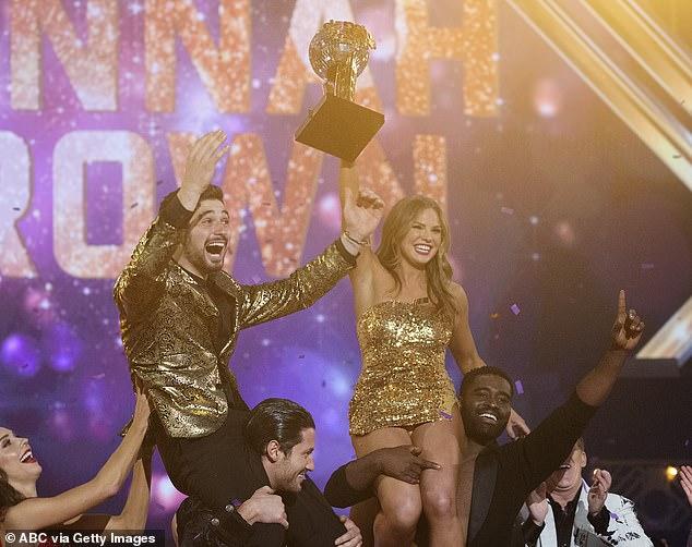 Celebration time: Alan and Hannah were hoisted up on shoulders after winning