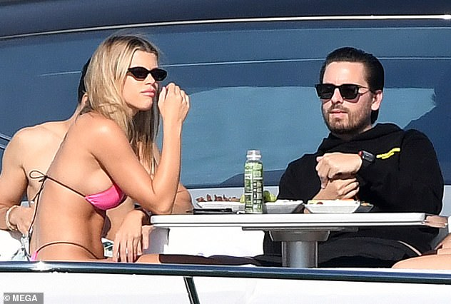 May-December romance: Scott, 36, has moved on to Lionel Richie's daughter Sofia, 21, and the pair were spotted soaking up the sun on a yacht in Miami on Monday