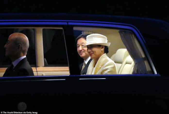Emperor Naruhito and Empress Masako are seen smiling warmly on arrival to the Ise Shrine on November 21, 2019 in Ise, Mie, Japan
