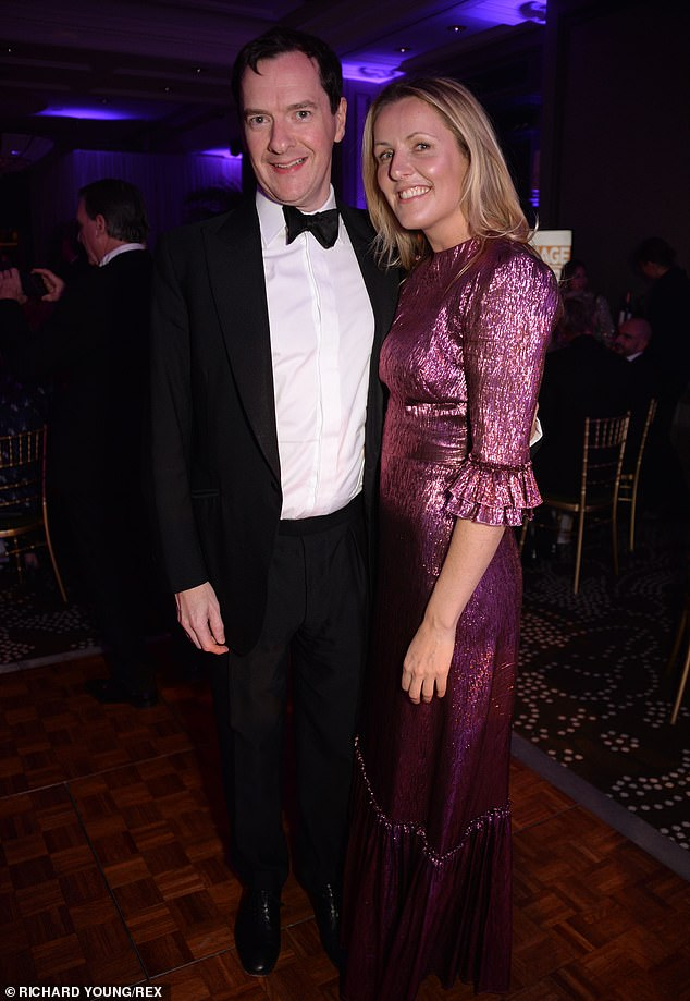 Former politician: Former chancellor George Osborne, 48, the current editor the Evening Standard, posed with Laura Weir, the editor of the paper's ES Magazine