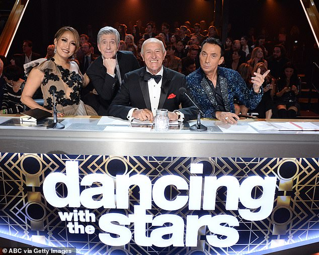 Season 28: Carrie Ann Inaba, host Tom Bergeron, and judges Len Goodman and Bruno Tonioli were back together for the finals